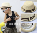 pop child summer straw sun hat, kid bucket hat, bowler cap, fedora hat, 10pcs/lot, free Shipping by China post