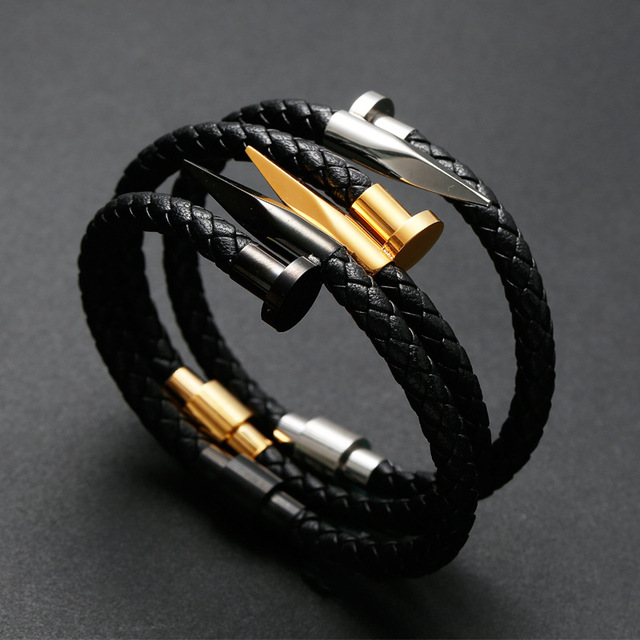 abf292ff1be Gold Silver Black Genuine Leather Bracelet for Men Women Nail Design  Stainless Steel Magnetic Clasp Braid Rope Bangle