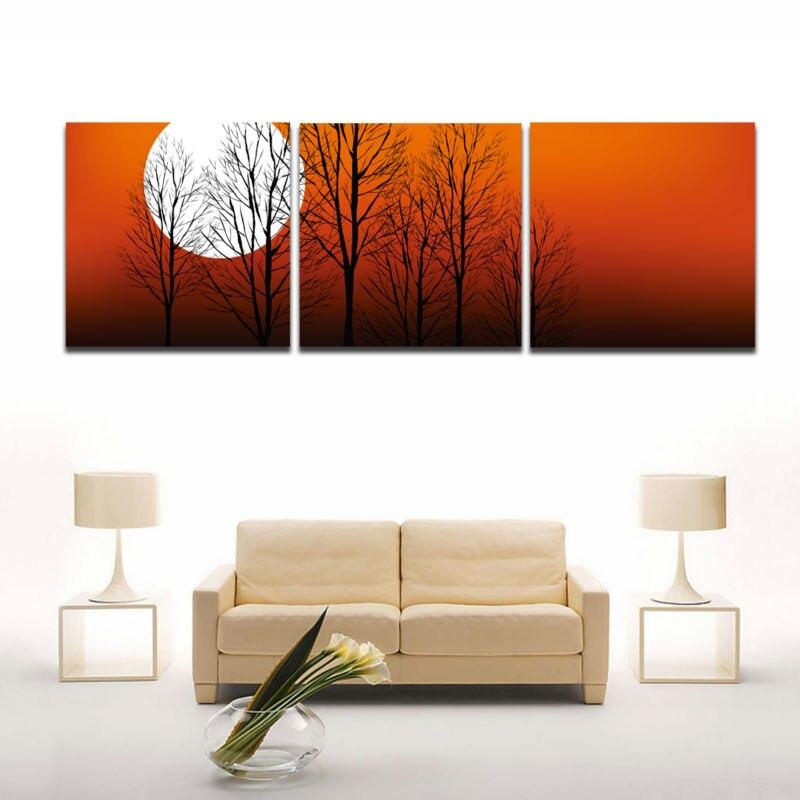 Buy 3 Pieces Picture Autumn Tree Sunset Landscape Painting Canvas Prints Modern