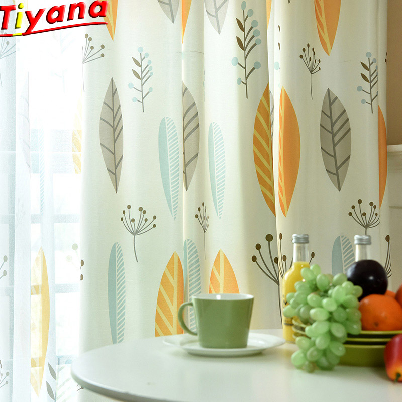 Yellow Leaves Voile Tulle Curtains For Living Room Leaf Tulle Curtains For Bedroom Curtains For Kids Fabric Drapes WP132#30