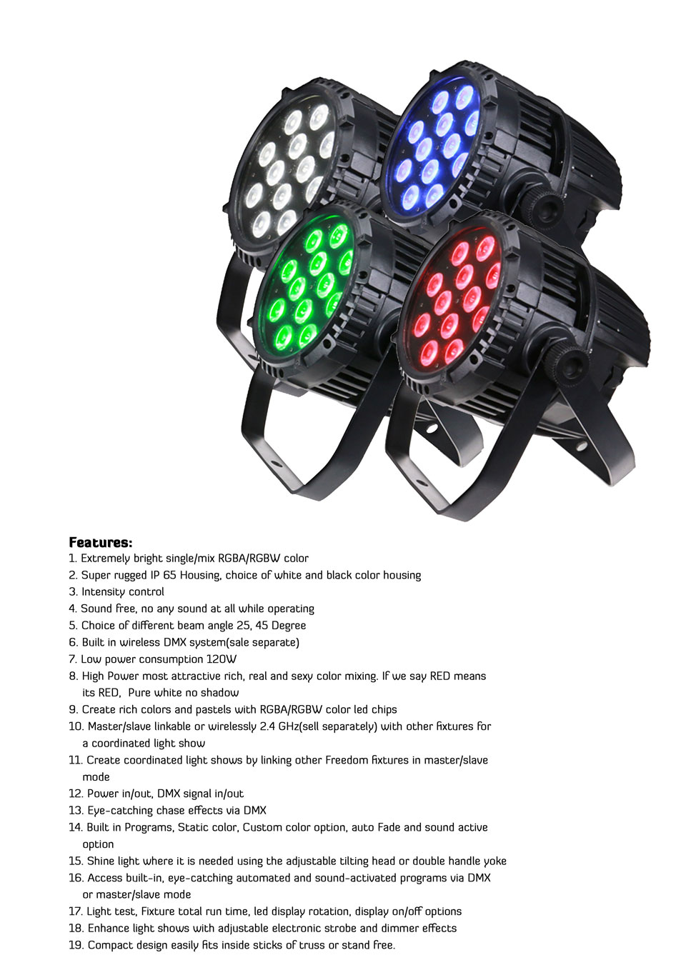 Rasha High Quality IP65 Waterproof 4in1 12pcs*10W 4in1 RGBW/RGBA LED Par Light,Outdoor LED Par Light for Studio Party Event 8x lot hot rasha quad 7 10w rgba rgbw 4in1 dmx512 led flat par light non wireless led par can for stage dj club party