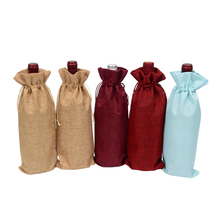 "Купить с кэшбэком 500pcs Jute Wine Bottle Covers Champagne Bags Line Drawstring Red Wine Burlap Pouch 5.91""x13.78"" Gift Olive Oil Jewelry Packing"