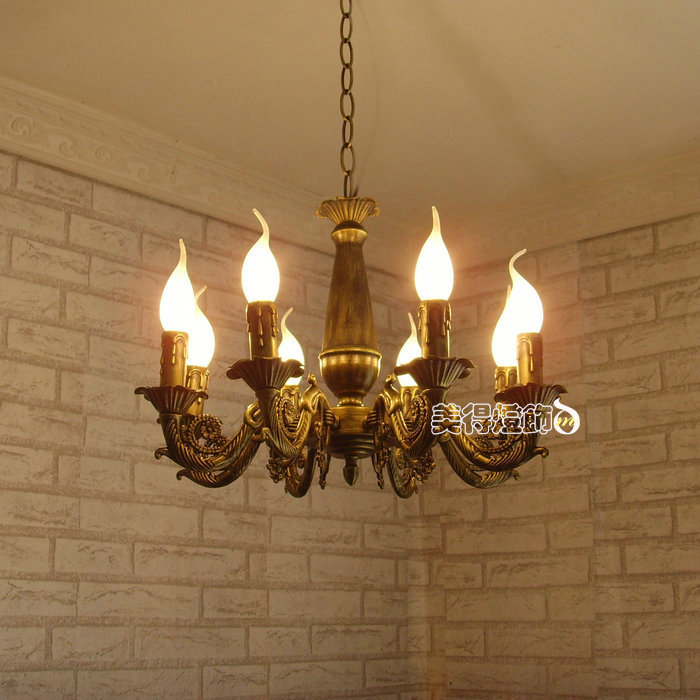 8 Lights Modern Chandelier Light Antique Brass Color