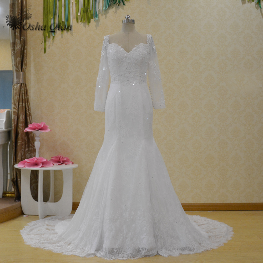 Real Picture China Wedding Dresses Mermaid Long Sleeve