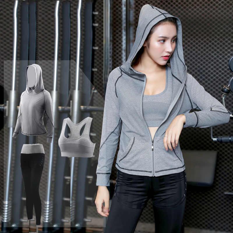 3 Pcs-5 Pcs Set Wanita Menjalankan Set Yoga Suit Jaket Sport Tshirt Celana Bernapas Gym Jogging Sport Set musim Gugur Cepat Kering Yoga Suit