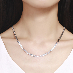 Image 4 - 925 Sterling Silver Curb Chain Link Necklaces Men Jewelry collares kolye Collier Hiphop 50cm 55cm 60cm 4mm 6mm ketting collane