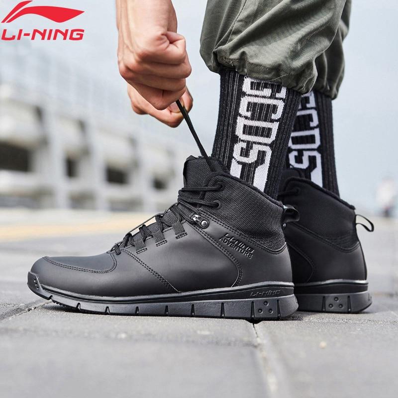 Li Ning Men FLY Outdoor Walking Shoes Warm Fleece Wearable Anti Slippery LiNing Sport Shoes Leisure