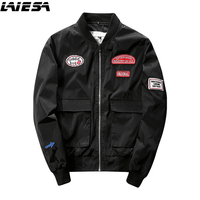 LIESA 2017 New Men Bomber Jacket Hip Hop Patch Designs Slim Fit Pilot Bomber Jacket Coat