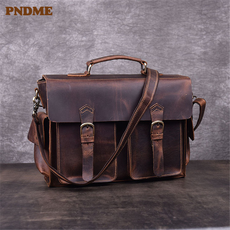 PNDME Retro Genuine Leather Men's Briefcase High Quality Crazy Horse Cowhide Business Work Laptop Bag Shoulder Messenger Bags