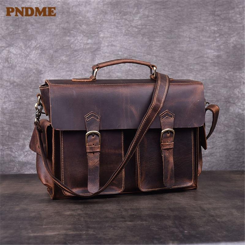 PNDME Retro Genuine Leather Men's Briefcase High Quality Crazy Horse Cowhide Business Work Laptop Bag Shoulder Messenger Bags