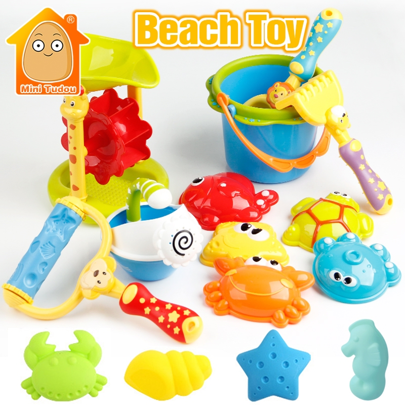Plastic Kids Beach Toys Sandbox With Cute Animal Model Shovel Rake Bucket Set Outdoor Water Sand Playing Tool Kids Beach Game