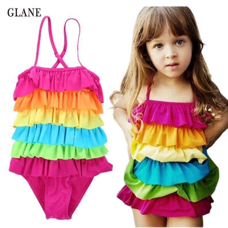 4-9T новые милые детские купальники для девочек цельный купальник для девочек малыш / детский плавательный костюм для малышей летняя пляжная одежда