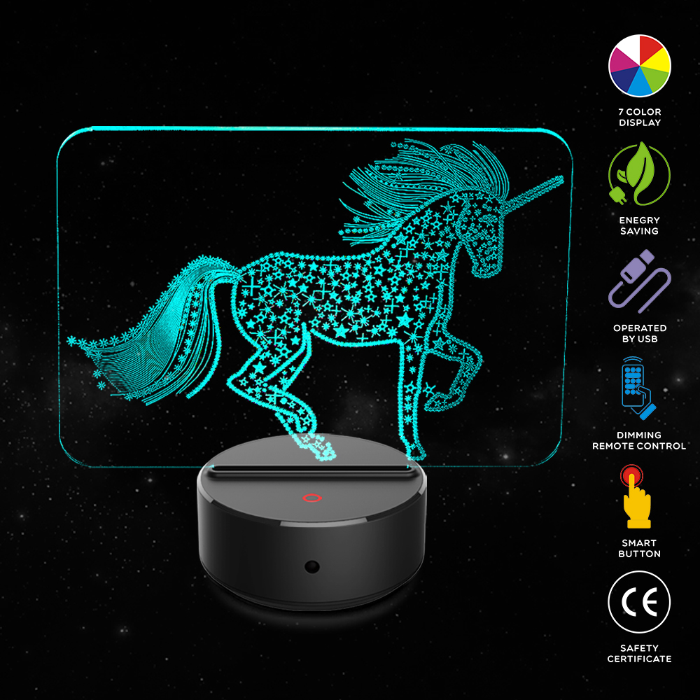 New Horse Shape 3d Illusion Lamp 7 Color Change Touch Switch Led Night Light Acrylic Desk Lamp Atmosphere Lamp Novelty Lighting