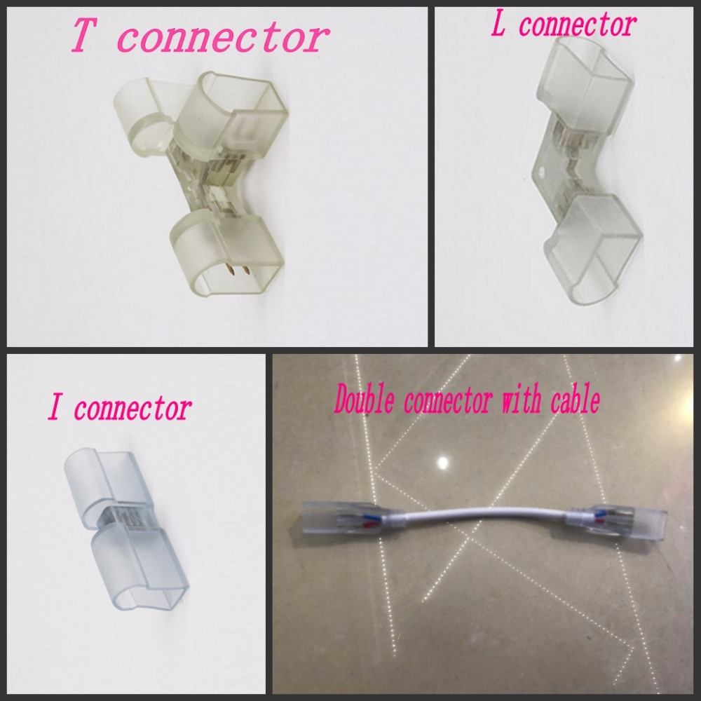 1pc Led neon connector Accessory PVC I type T type L type double connectors with cable for Single color neon Light