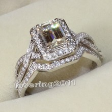 choucong Princess cut 3ct Stone 5A Zircon stone 10KT White Gold Filled 2-in-1 Women Engagement Wedding Ring Set Sz 5-11
