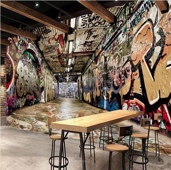 Restaurant Wohnzimmer | Nach 3d Foto Tapete Europaischen Stil Retro Graffiti Tunnel Wandbild