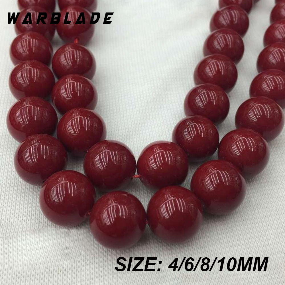 <font><b>Natural</b></font> <font><b>Stone</b></font> Round Dark Red Coral <font><b>Beads</b></font> Loose <font><b>Beads</b></font> 4mm 6mm <font><b>8mm</b></font> 10mm For DIY Bracelet Necklace Jewelry Making Findings WBL image