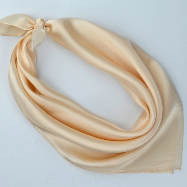 e82b6418f Plain Small Square Silk Scarf 53*53cm Hot Sale Women Crepe Satin Silk Scarves  Spring