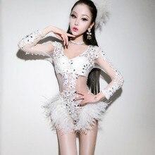 Dj Сценические костюмы для певцов женские сексуальные полые белые алмазные кружевные волосы страуса Соединенные Ds представление одежда боди