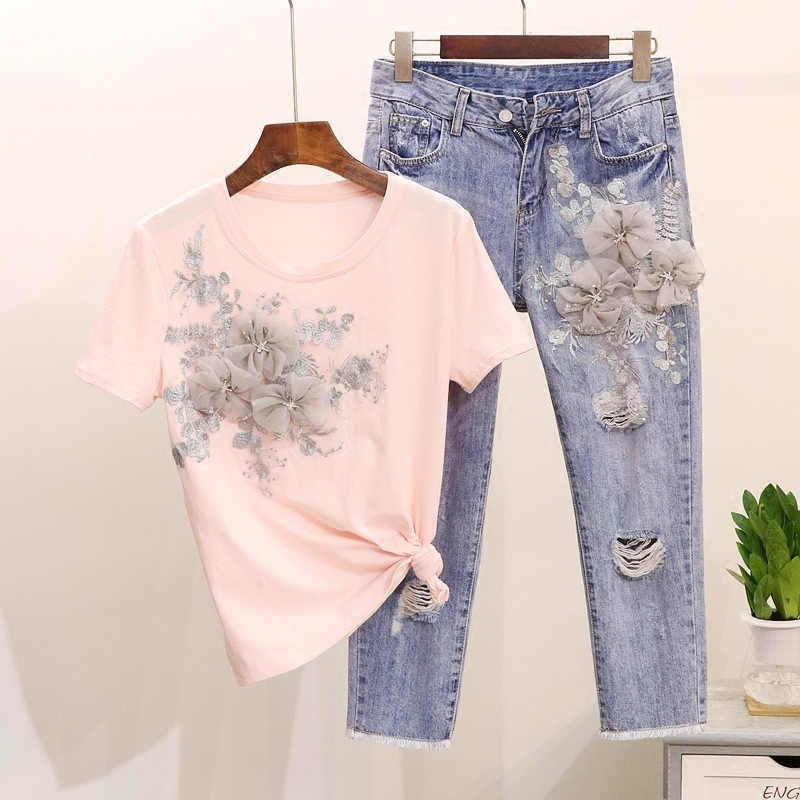 Summer Fashion Women Jeans Set Pink T Shirt Flower Appliqued And Embroidered 3d Flower Ankle Jeans