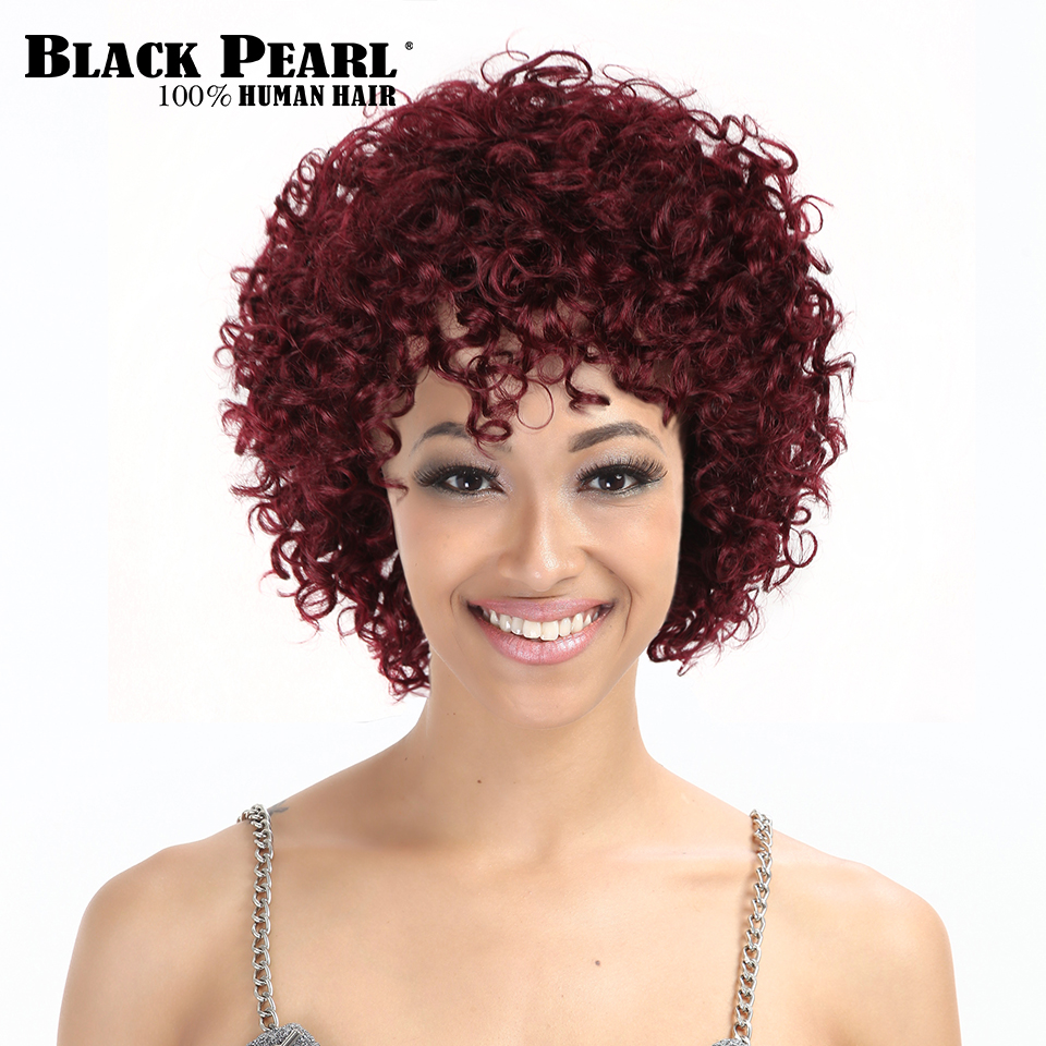 Black Pearl Short Human Hair Wigs For Black Women Wine Red Short Curly Hair Wigs With Bangs Short Pixie Cut Cosplay Wig 99j