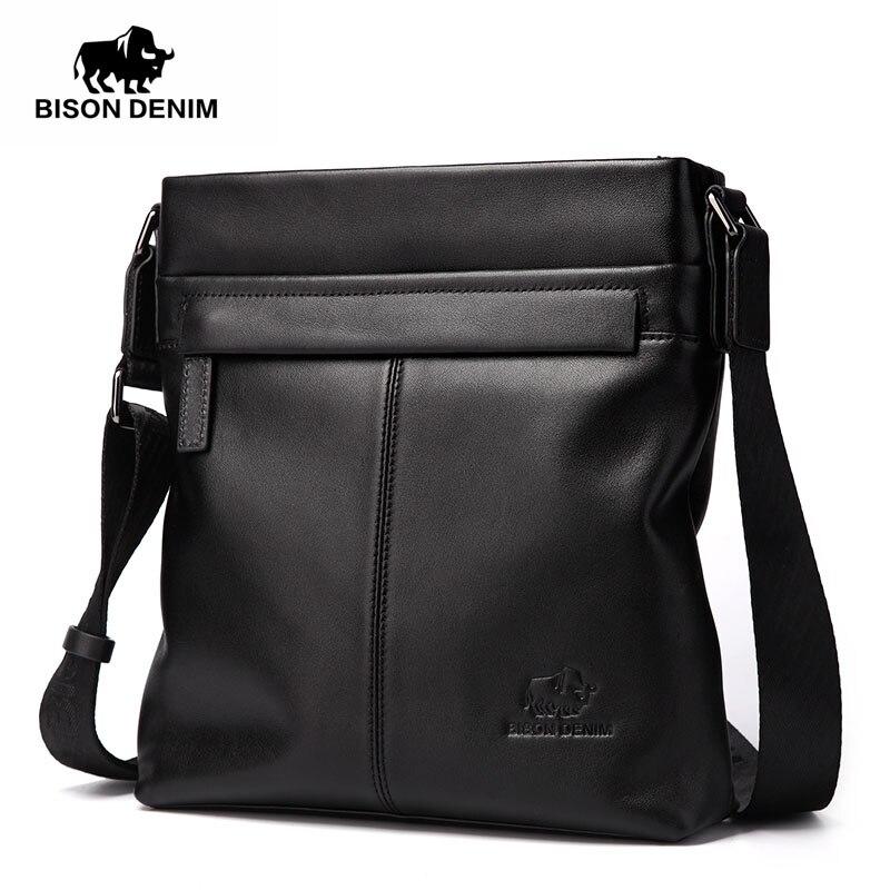 BISON DENIM fashion luxury men bag brand genuine leather male crossbody shoulder bags business men messenger