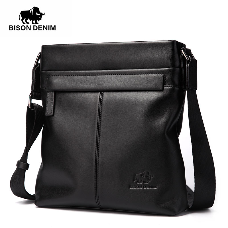 BISON DENIM Fashion Luxury Men Bag Brand Genuine Leather Male Crossbody Shoulder Bags Business Men Messenger Bags