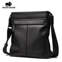 BISON DENIM fashion luxury men bag brand genuine leather male crossbody shoulder bags business men messenger bags