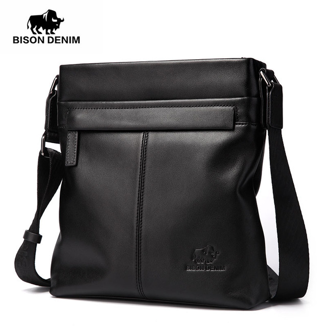 BISON DENIM homens da moda de luxo saco de marca genuína masculinos de couro crossbody sacos de ombro homens de negócios messenger bags