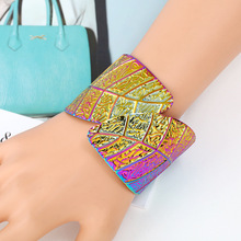Punk Dainty Carved Leaf Metal Open Bangles Ladies Wide Cuff Bracelets For Women Gold/Silver/Colorful Leaves Indian Jewelry