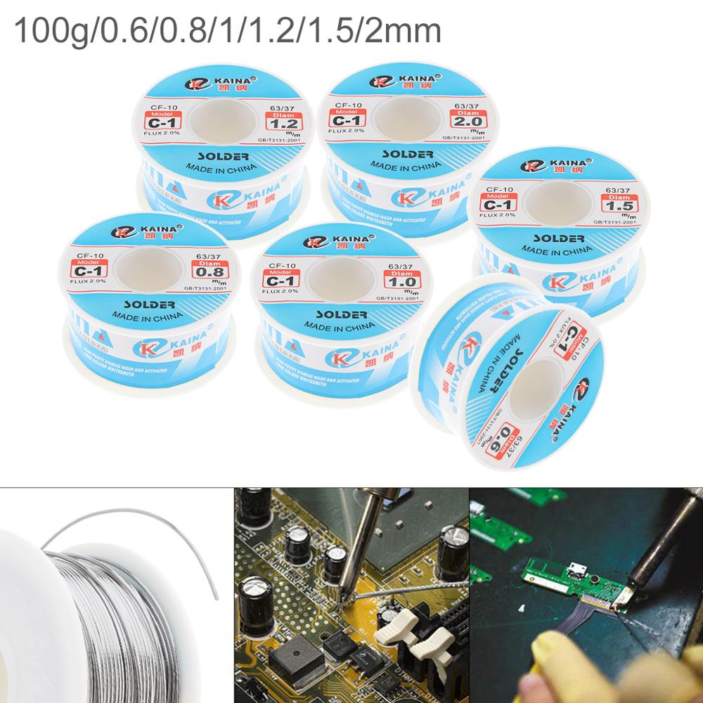 63/37 C-1 100g 0.6mm 0.8mm-2.0mm High Purity No-clean Rosin Core Solder Tin Wire Reel With 2% Flux And Low Melting Point