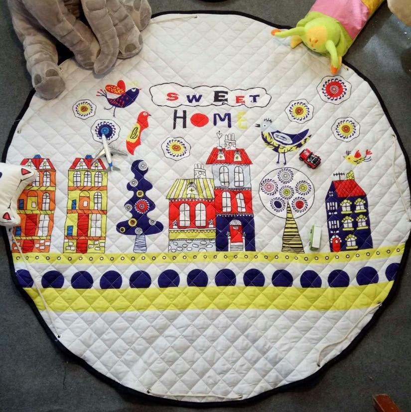 Купить с кэшбэком 59 Inches Large Baby Play Mat Playmat Kids Toy Storage Bag Non-slip Bottom Portable Carry Playing Mats room decor floor play rug