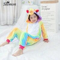 Cute Cartoon Animal Children S Conjoined Pajamas 2018 Winter Kids Warm Flannel Siamese Sleepwear Dinosaurs Pegasus