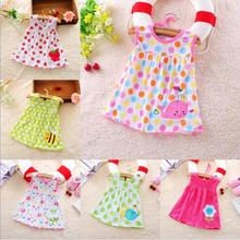 Fashion Lovely Baby Girls Dress Infant Kids Cotton Clothing Summer Dress Sleeveless Printed Flower Dress