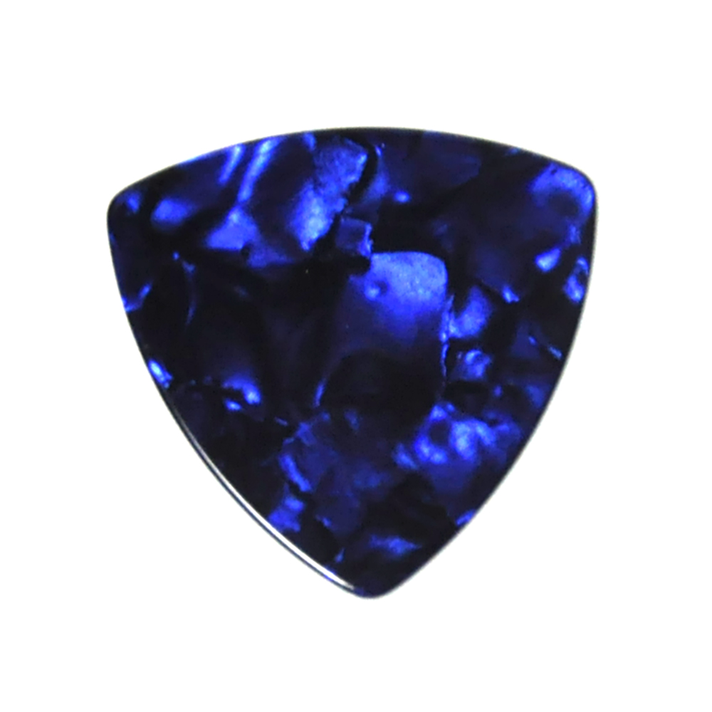 Lots Of 100 Pcs Rounded Triangle Big Size Medium 0.71mm Celluloid Guitar Picks Blue Pearl