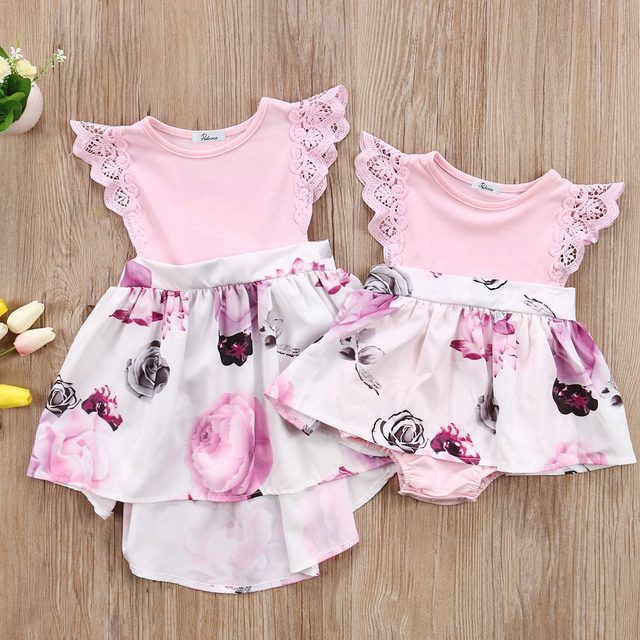 38ba7bdd8 pudcoco Newest Arrivals Hot Infant Newborn Toddler Cute Kids Girl Baby  Sisters Floral Dress Romper Sundress Matching Clothes