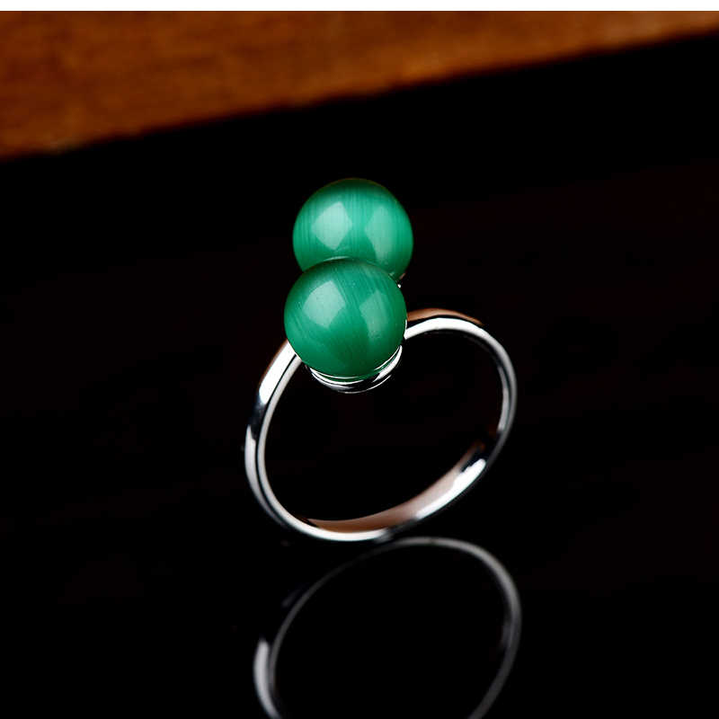 K's Gadgets จริงโอปอลแหวนแฟชั่นเครื่องประดับแหวนเงินคู่สีสำหรับสตรีจริงลูกบอลสีเขียวแหวนหิน