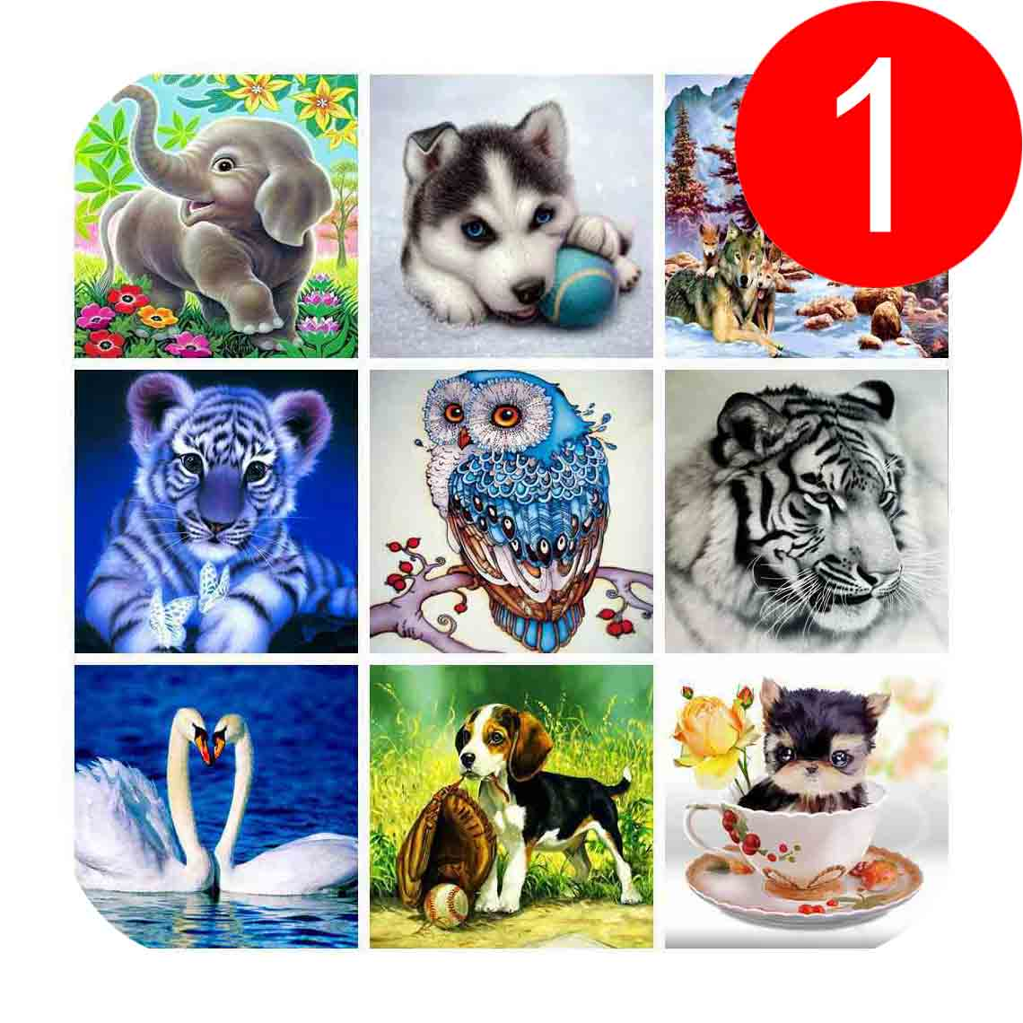 Full Diamond Painting Cartoon Animals Tiger Dog Wolf Owl Swan 5D DIY Diamond Embroidery  ...