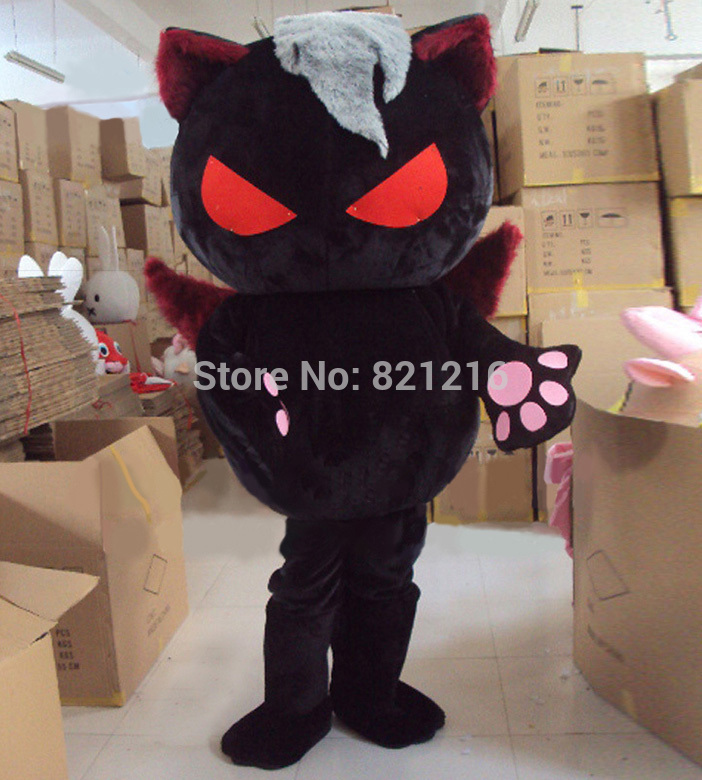 Дьявол черный Кот Маскоты костюм злой дух Дизайн Cat Костюм Хеллоуин костюм Бесплатная доставка