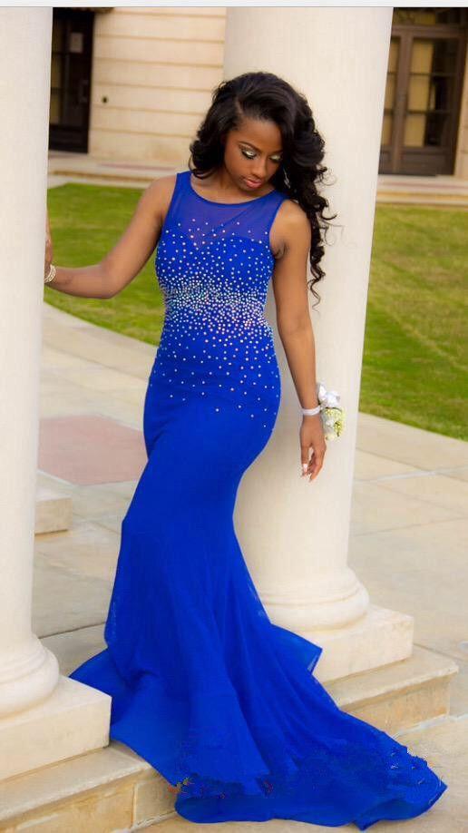 Sparkly royal blue mermaid prom dress 2017