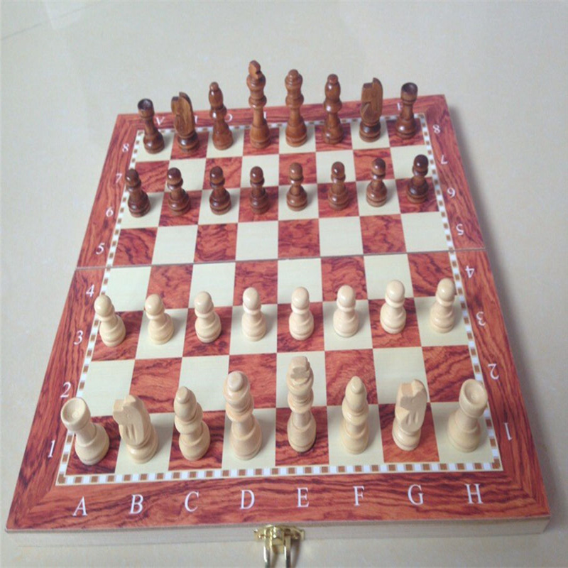1 Set Classic Thick Wood Sheet Imitation Ruby Foldable Wooden Chess Game ...