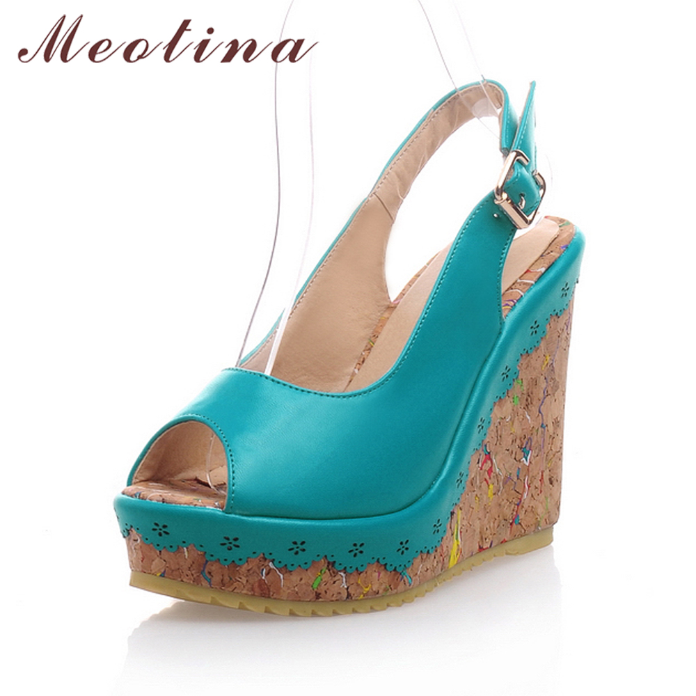 Meotina Shoes Women Sandals Summer Peep Toe Ankle Strap Platform Wedges Female Bordered White Blue Beige Shoes Size 34-39Fashion meotina shoes women sandals summer peep toe ankle strap platform wedges female bordered white blue beige shoes size 34 39fashion