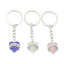 10pcs/Lot Design Full Crystal With Dance Mom Heart Key Chains Silver Color Chain Keychain Bag Car Hanging Pendant Jewelry(China)