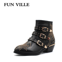FUN VILLE New Fashion High Quality Women Ankle Boots Genuine Leather Autumn Winter Motorcycle Boots Round