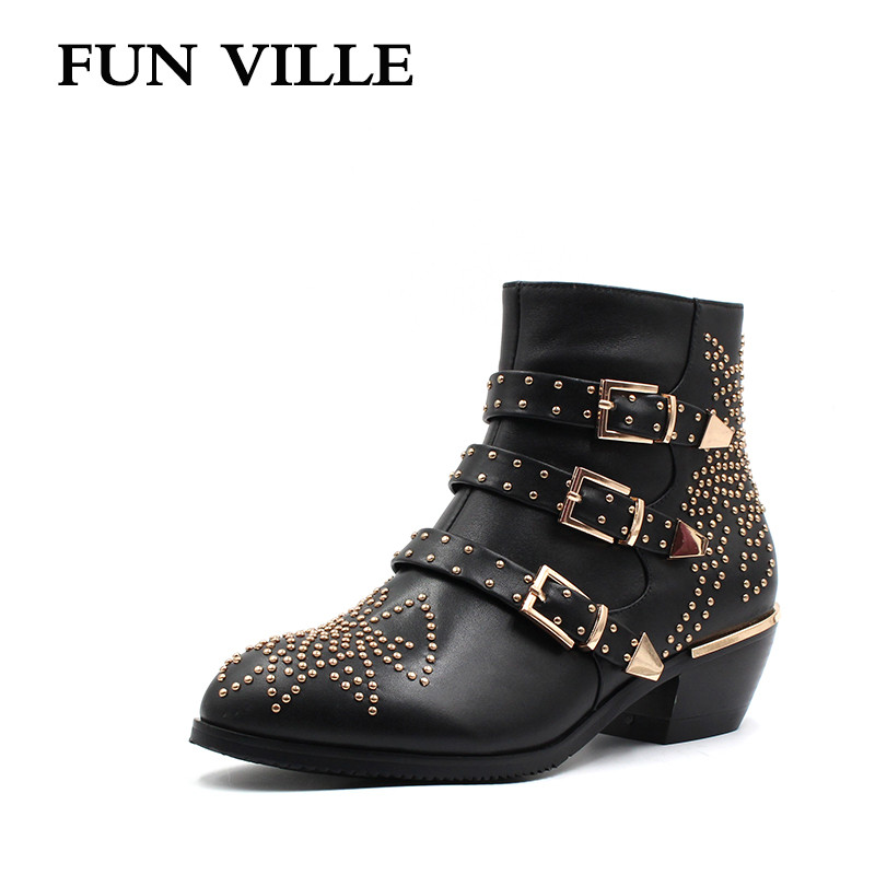 FUN VILLE New Fashion High quality women Ankle boots Genuine leather Autumn winter Motorcycle boots Round toe Zipper Size 34-42 european style autumn genuine leather fashion ankle boots round toe zipper belt buckle high heels motorcycle boots women boots