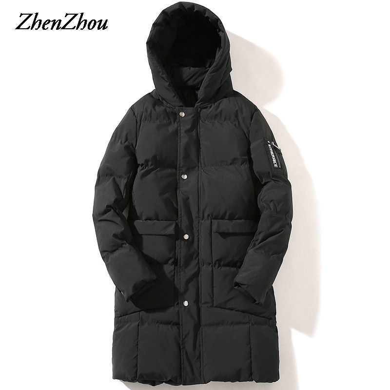 Hooded Winter Jacket Mens 2017 Fashion Male Coat Solid Winter Parkas Mens Thicking Long Parka Men Plus Size S-5XL High Quality top quality men winter jackets fashion luxury print slim fit men parkas stand collar long sleeve plus size padded coat male 5xl