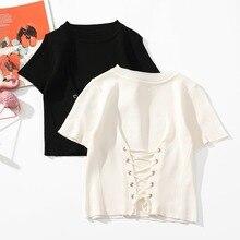 Women O Neck T Shirt Summer Knitted Shirt Lace Up Crop Top Female Short Sleeve T-shirt grommet lace up t shirt