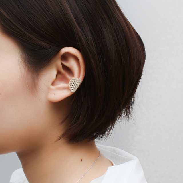 Wide Crystal Clip-On Ear Cuff