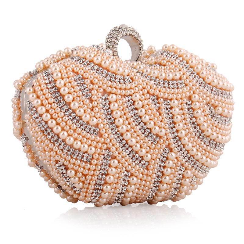 New Fashion Women 39 s Evening Clutch Pearl Beading Crystal Striped Handbag Apple Shape Pouch Shoulder Bag Crossbody Messenger Flap in Clutches from Luggage amp Bags
