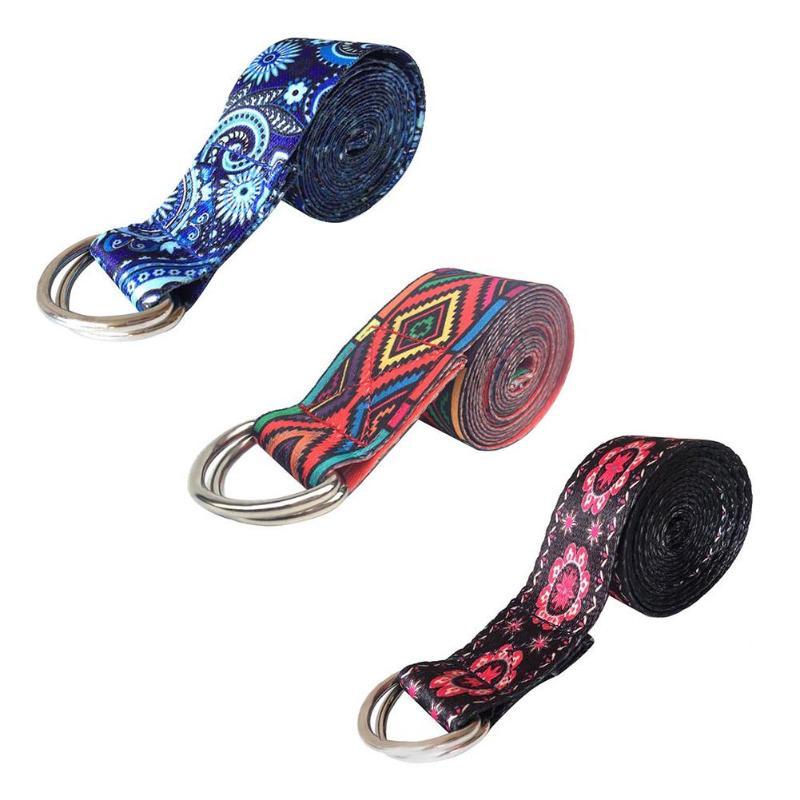 D-Ring Belts Yoga Strap Fitness Rope Colored Printed Adjustable Yoga Belt Yoga Stretch Belt Washable Sport Stretch Strap Props